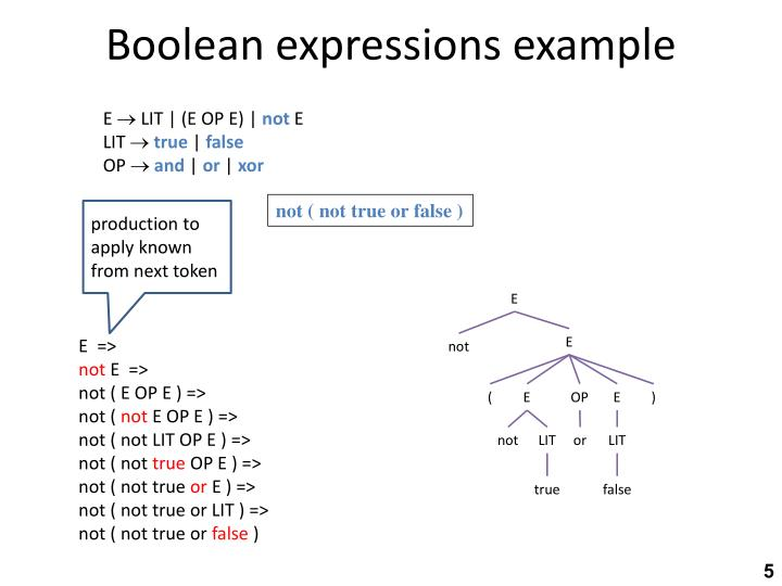Boolean expressions example