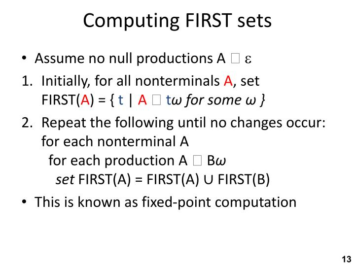 Computing FIRST sets