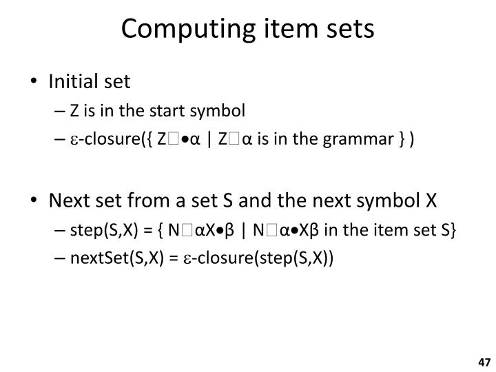 Computing item sets