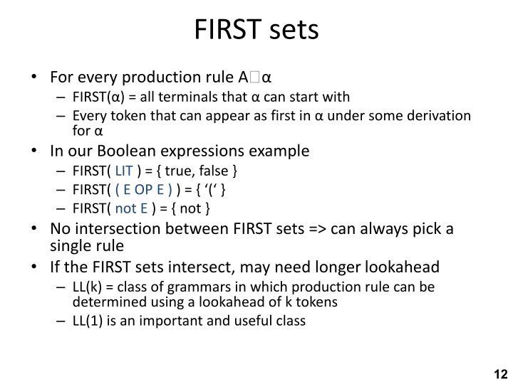 FIRST sets