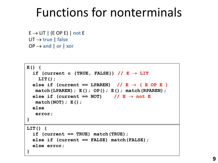 Functions for