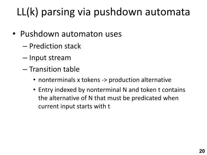 LL(k) parsing via pushdown automata