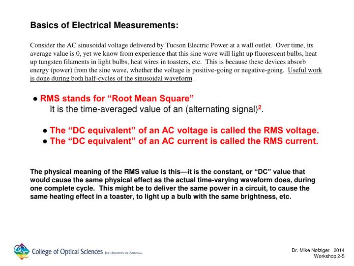 Basics of Electrical Measurements: