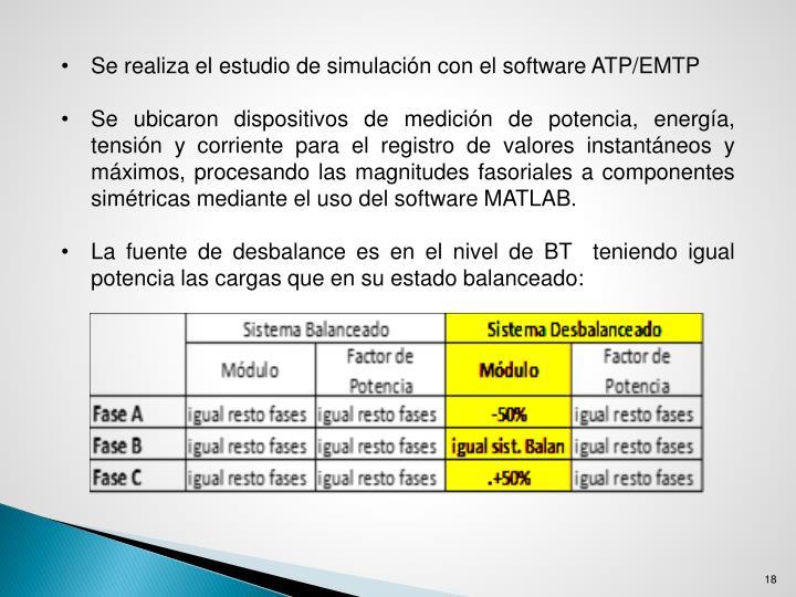 Se realiza el estudio de simulación con el software ATP/EMTP