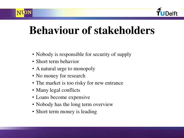 Behaviour of stakeholders