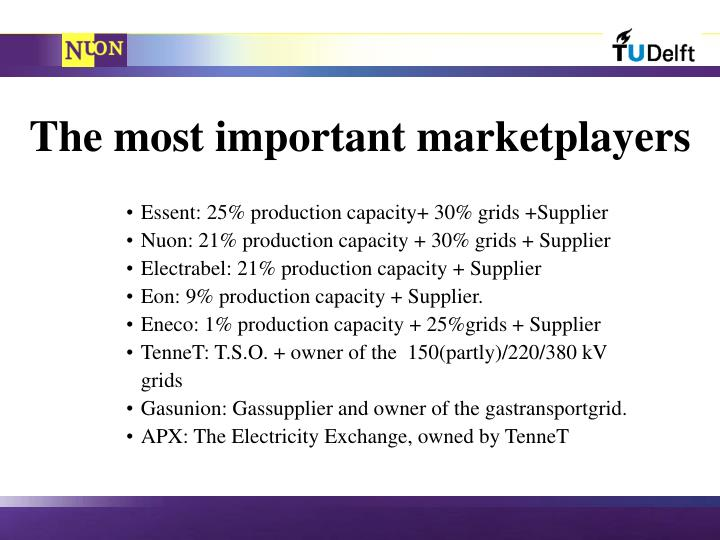 The most important marketplayers