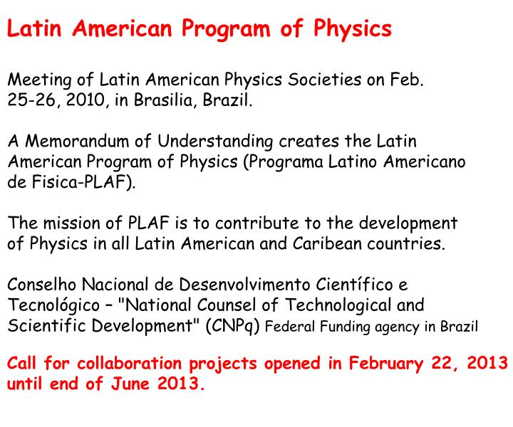 Latin American Program of Physics