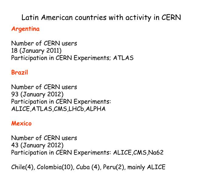 Latin American countries with activity in CERN