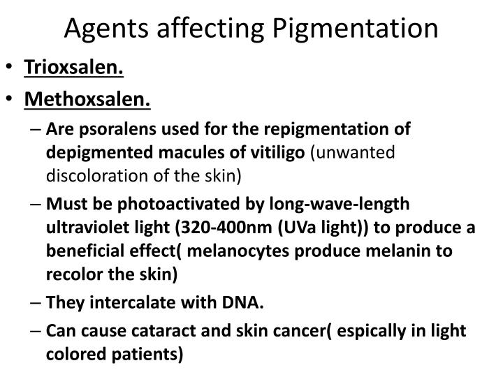 Agents affecting Pigmentation