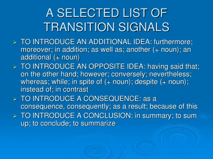 A SELECTED LIST OF TRANSITION SIGNALS