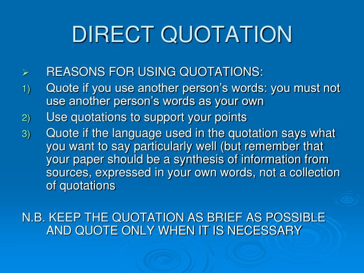 DIRECT QUOTATION