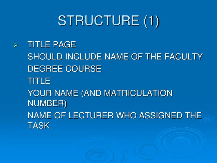 STRUCTURE (1)