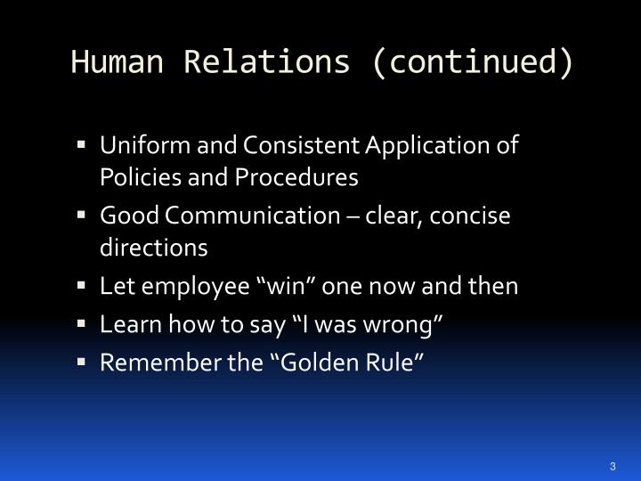 Human Relations (continued)