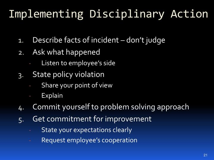 Implementing Disciplinary Action