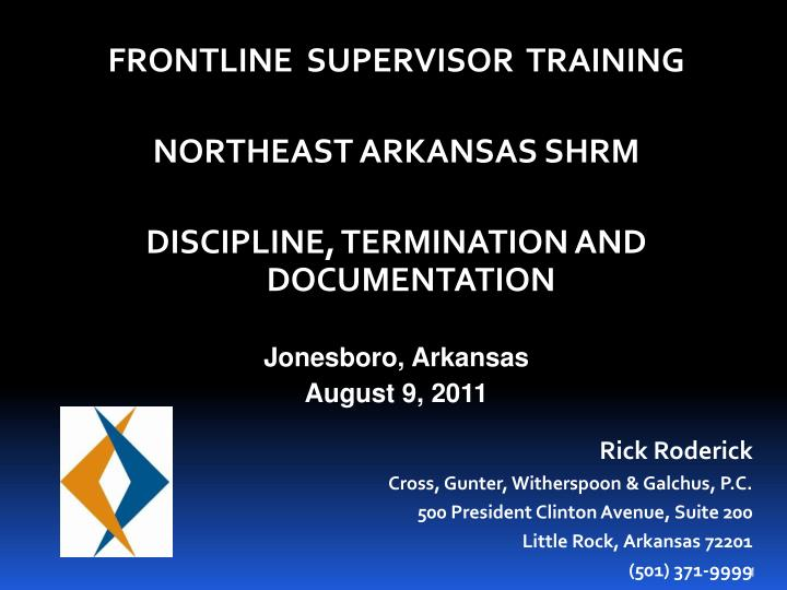 FRONTLINE  SUPERVISOR  TRAINING