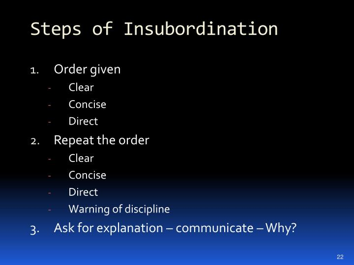 Steps of Insubordination