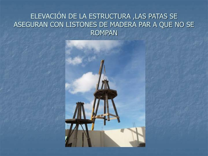 ELEVACIÓN DE LA ESTRUCTURA ,LAS PATAS SE ASEGURAN CON LISTONES DE MADERA PAR A QUE NO SE ROMPAN