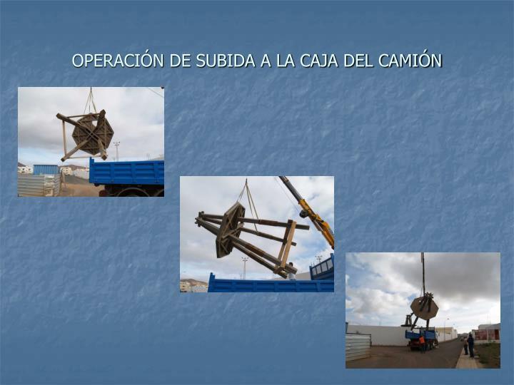 OPERACIÓN DE SUBIDA A LA CAJA DEL CAMIÓN