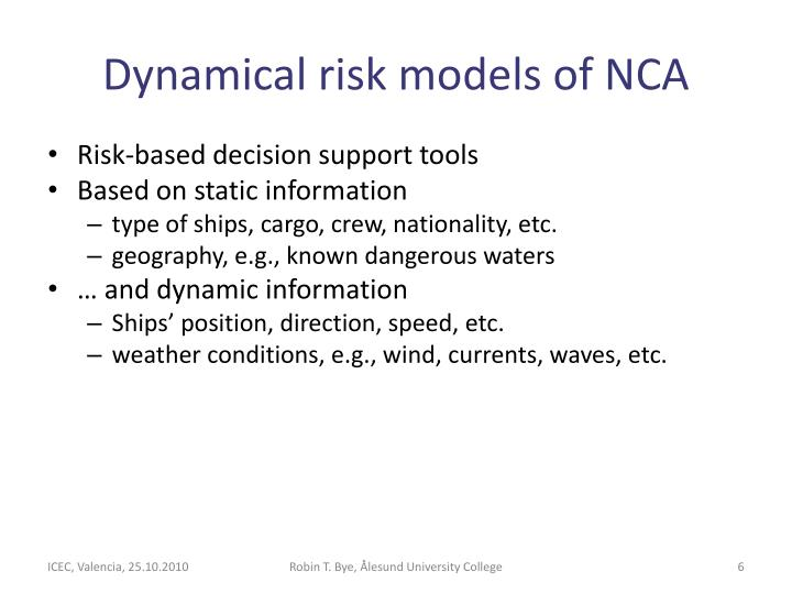 Dynamical risk models of NCA
