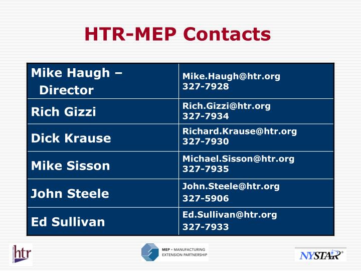 HTR-MEP Contacts