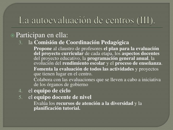 La autoevaluación de centros (III).