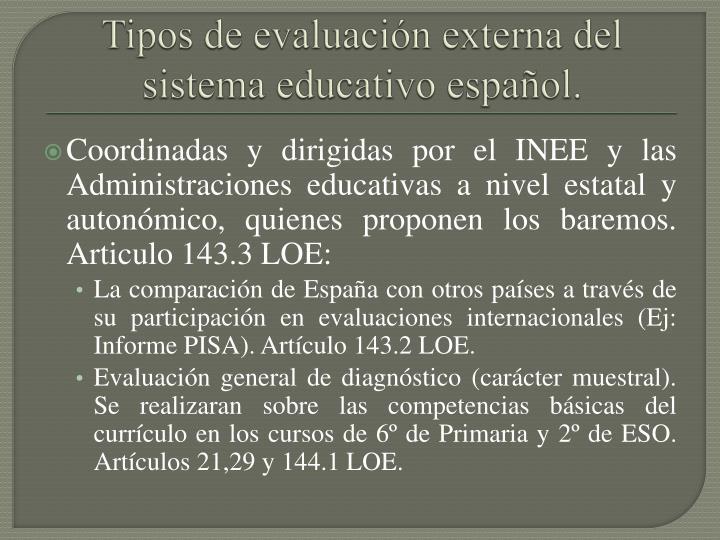 Tipos de evaluación externa del sistema educativo español.
