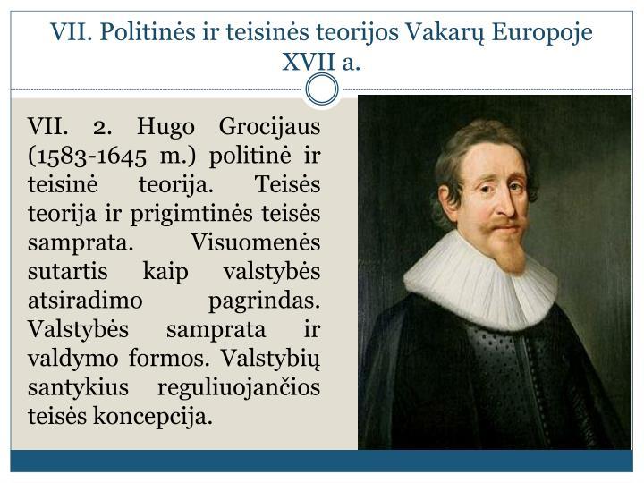 VII. Politinės ir teisinės teorijos Vakarų Europoje XVII a.