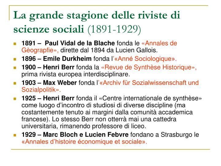 La grande stagione delle riviste di scienze sociali