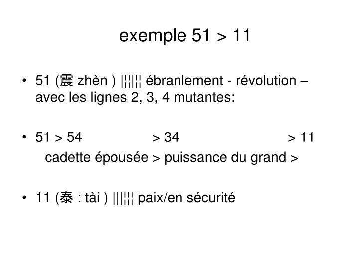 exemple 51 > 11