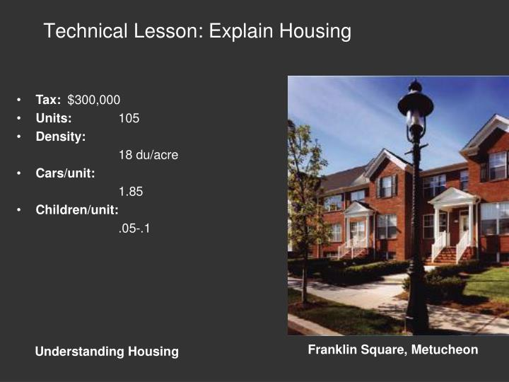 Technical Lesson: Explain Housing