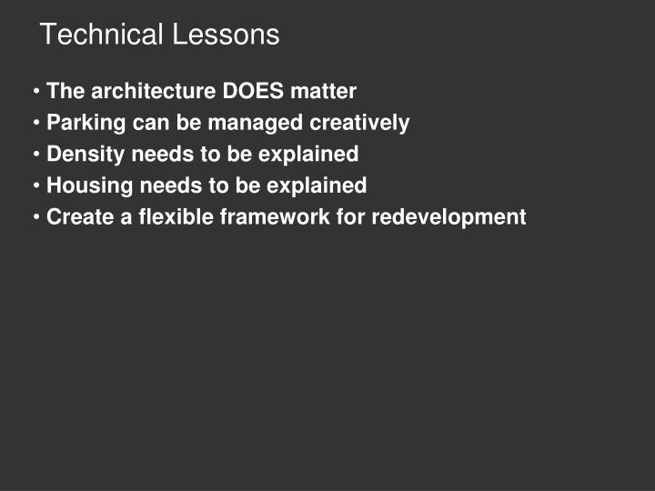 Technical Lessons