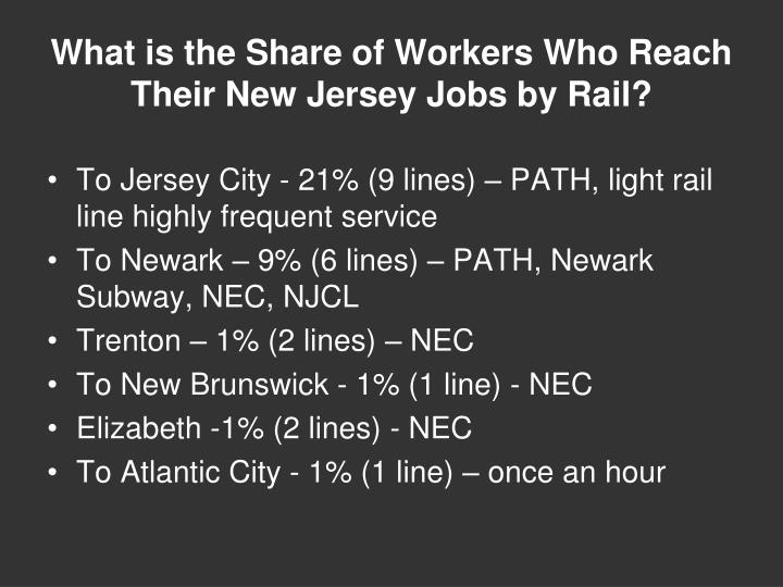 What is the Share of Workers Who Reach Their New Jersey Jobs by Rail?