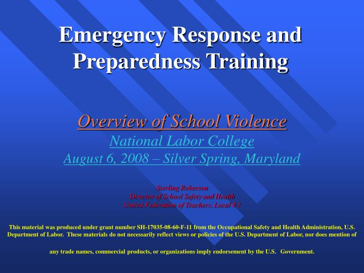 emergency preparedness and disaster response in schools essay
