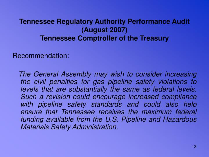 Tennessee Regulatory Authority Performance Audit (August 2007)