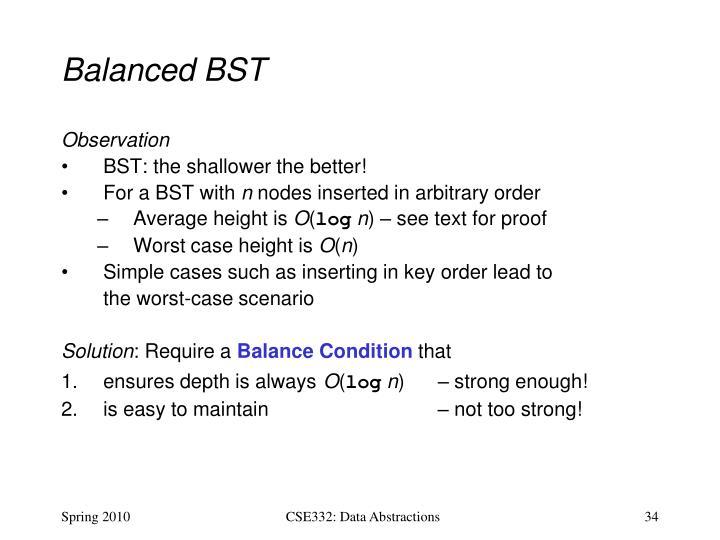 Balanced BST