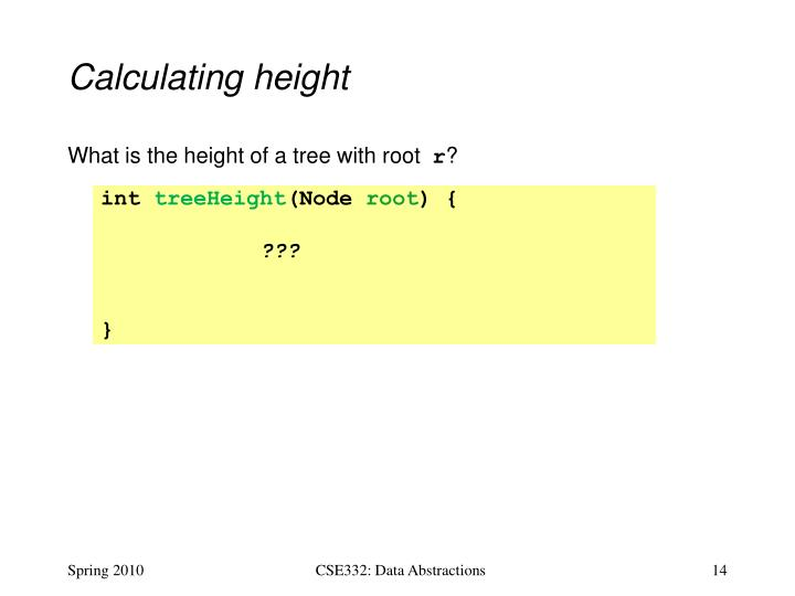 Calculating height