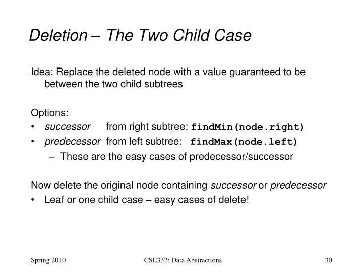 Deletion – The Two Child Case