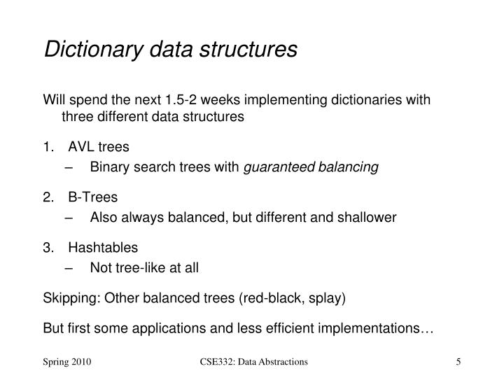Dictionary data structures