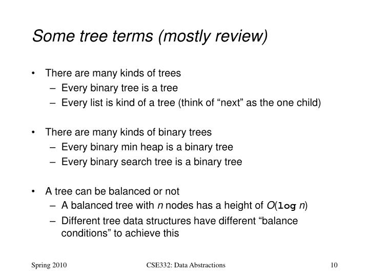 Some tree terms (mostly review)