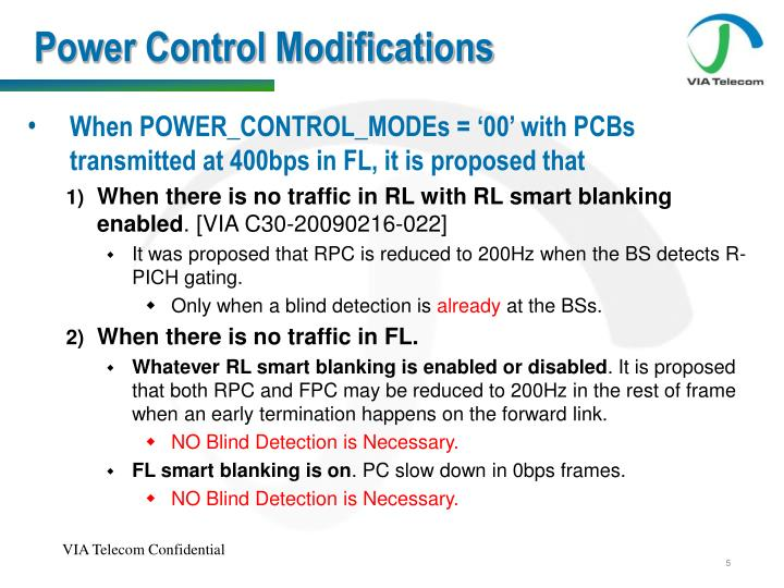 Power Control Modifications