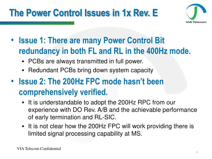 The Power Control Issues in 1x Rev. E