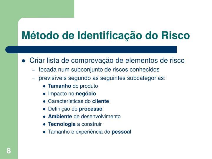 Método de Identificação do Risco