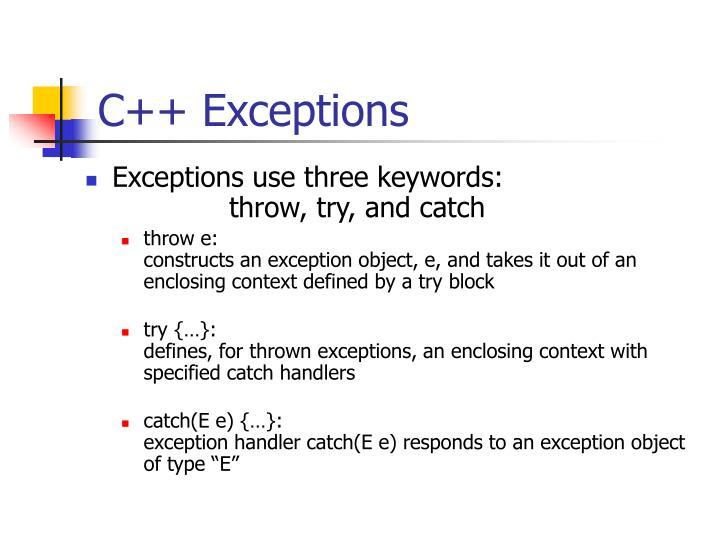 C++ Exceptions