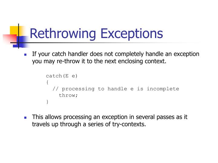 Rethrowing Exceptions