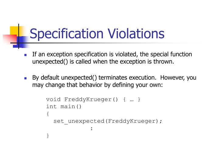 Specification Violations