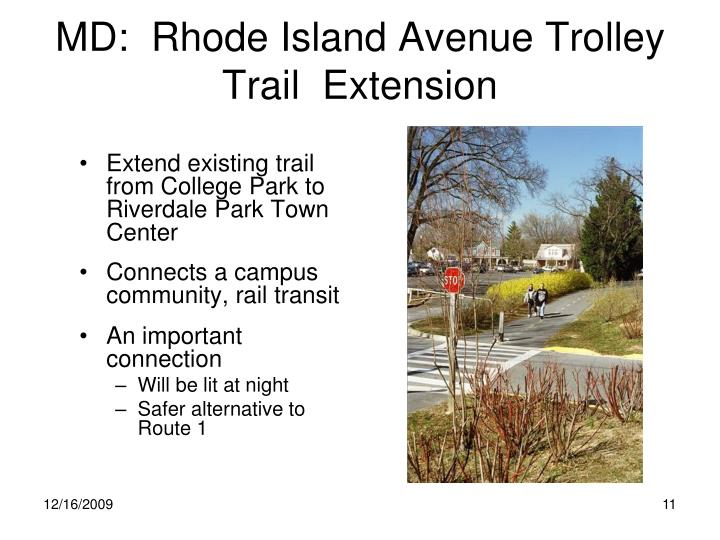 MD:  Rhode Island Avenue Trolley Trail  Extension