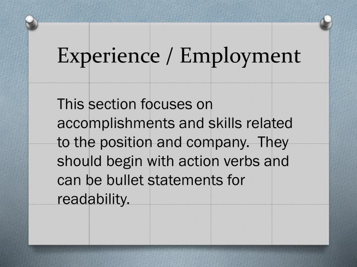 Experience / Employment