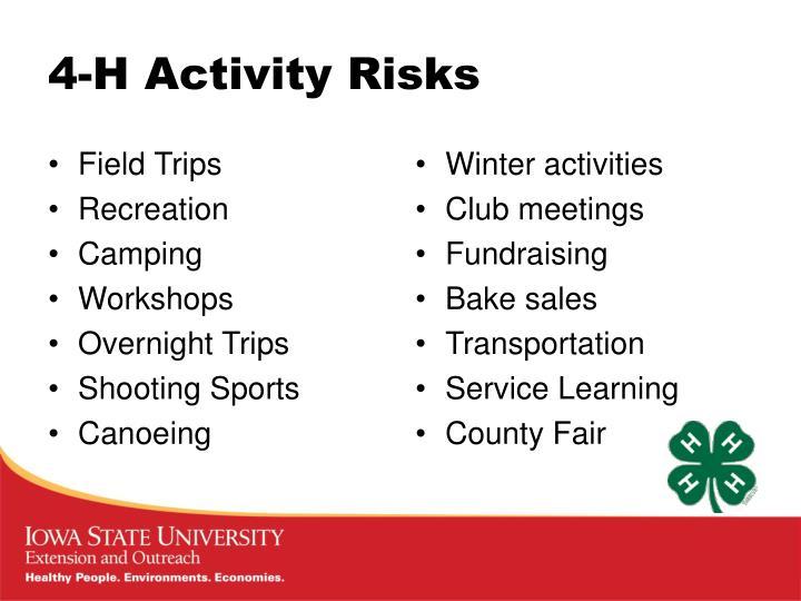 4-H Activity Risks