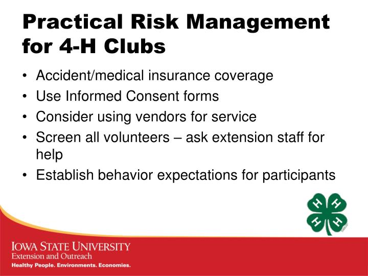 Practical Risk Management for 4-H Clubs