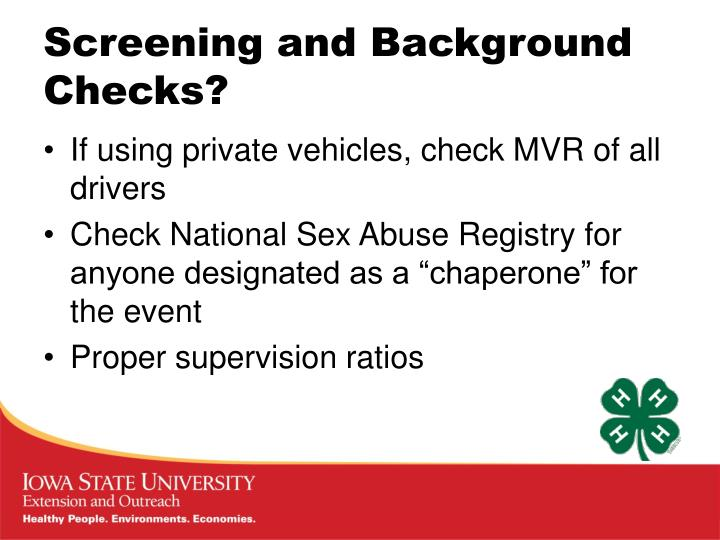 Screening and Background Checks?
